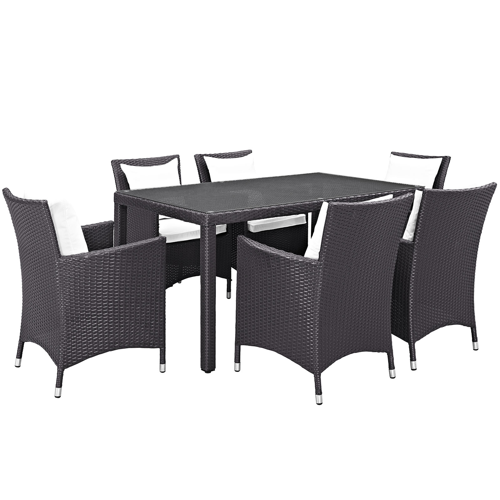 Modern Contemporary Urban Design Outdoor Patio Balcony Seven PCS Dining Chairs and Table Set, White, Rattan