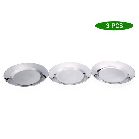 3 PCS Stainless Steel Dish Plate 9.6IN Round Dinner Plate Outdoor Camping Picnic BBQ Cookout Utensil ()