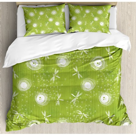 Dragonfly King Size Duvet Cover Set, Sketch Style Dandelion Flower Petals Spring Beauty Nature Blossom Image, Decorative 3 Piece Bedding Set with 2 Pillow Shams, Lime Green Cream, by Ambesonne ()