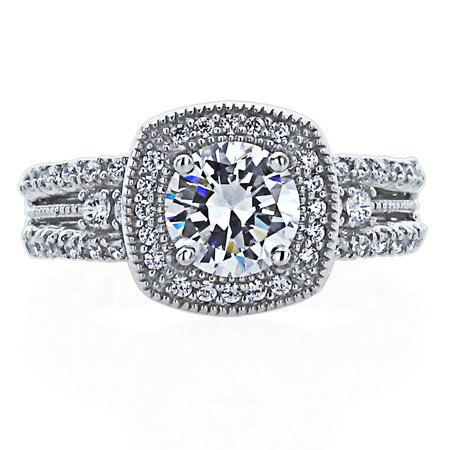 Men's Sterling Silver Wedding Ring 1.5ct Round CZ Vintage Style Halo Engagement Ring ( Size 5 to 9 -