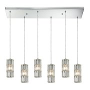 Cynthia 6-Light Rectangular Pendant Fixture in Polished Chrome with Crystal