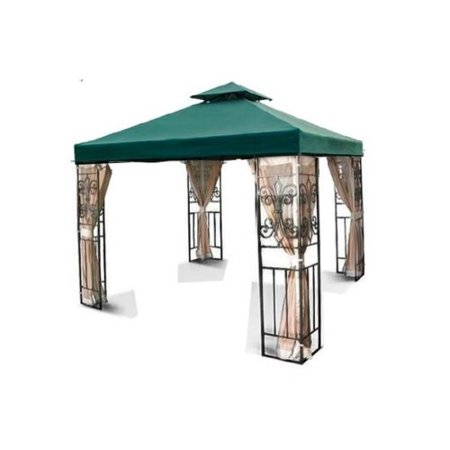 12' x 12' Gazebo Canopy Top Replacement Cover (Green) - Dual Tier Up Tent Accessory with Plain Edge Polyester UV30 Protection Water Resistant for Outdoor Patio Backyard Garden Lawn Sun Shade Dual Power Feed Canopy
