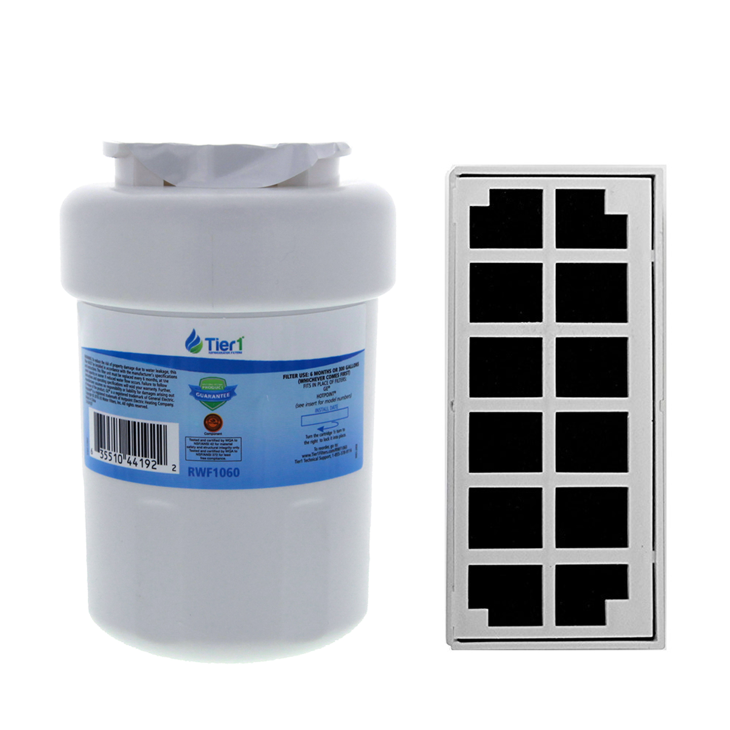 Tier1 Replacement for GE MWF SmartWater, MWFP, MWFA, GWF, GWFA, HWF, 46-9991, 469991, 469905, 469996 Water and Odor Filter Combo