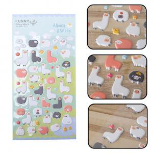 Fancyleo 3D Bubble Stickers, 5 Pcs Cute Alpaca Adhesive Label Personalized Stickers, DIY Decorative Puffy Adhesive Sticker Tape/Kids Craft Scrapbooking Sticker Set for Diary, Album - Stickers For Scrapbooking