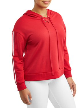 6bcf328df08 Product Image Women s Plus Size Contrast Striping Lace-Up Hoodie