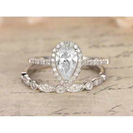 Superb 1.50 Carat Pear cut Moissanite & Diamond Wedding Ring Set with 18k Gold Plating 18k White Gold Moissanite Ring