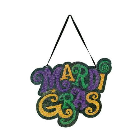 Fun Express - Mardi Gras Glitter Door Hanger for Mardi Gras - Party Decor - Door Decor - Misc Door Decor - Mardi Gras - 1 Piece