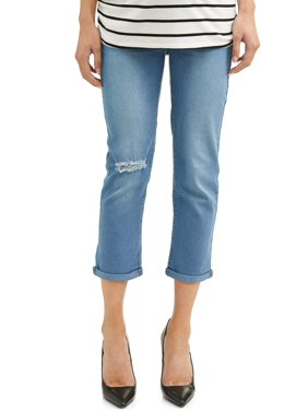 934a42505 Product Image Maternity Roll Cuff Distressed Overbelly Denim Capris -  Available in Plus Sizes