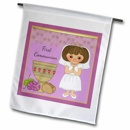 3dRose First Communion Girl with Bread and Wine Polyester Garden Flag](Communion Banners)
