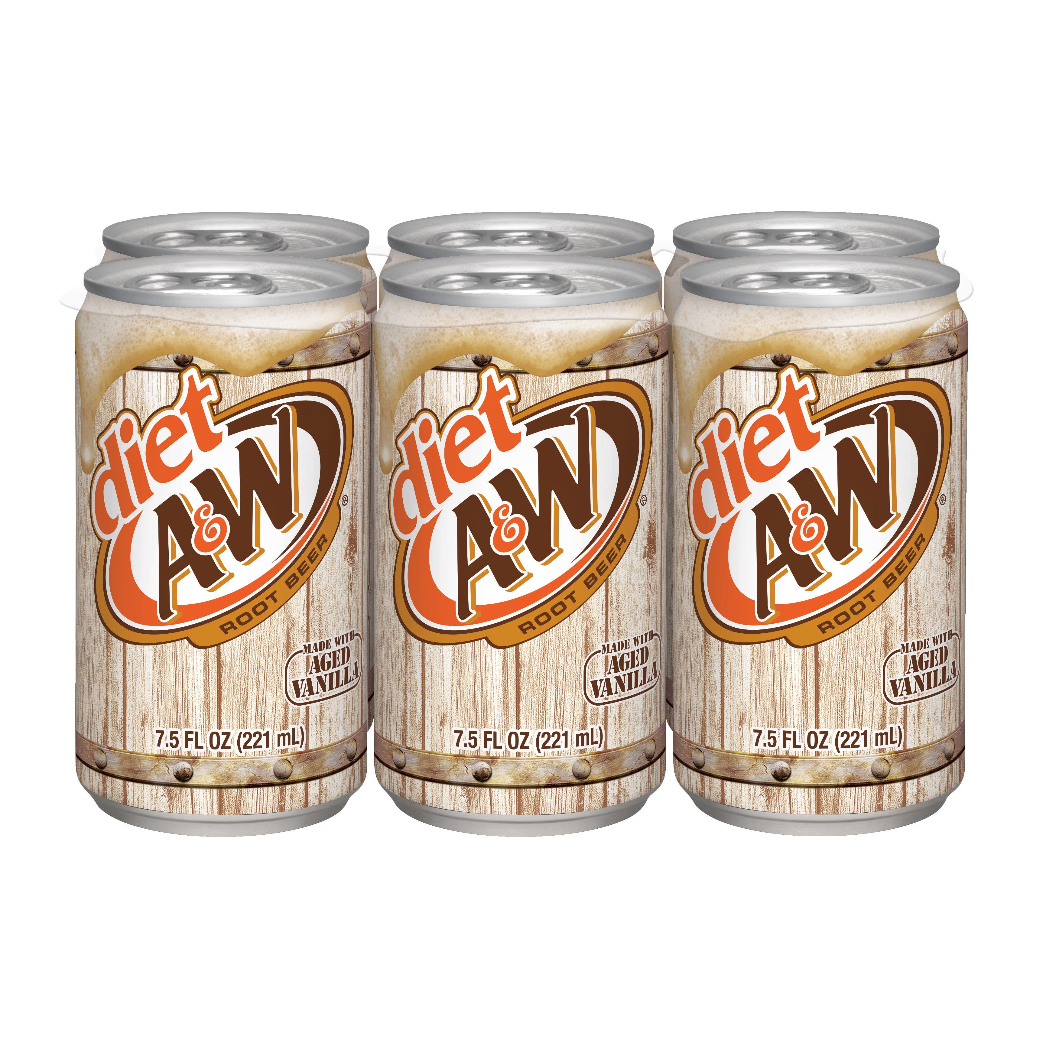 Diet A&W Root Beer, 7.5 fl oz, 6 pack