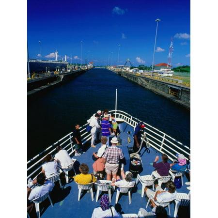 Overhead View of Boat Cruising Through the Gatun Lock, Panama Canal, Panama City, Panama Print Wall Art By Alfredo