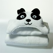 Little Ashkim HTP002 Toddler Panda Hooded Turkish Towel - White, 2 Years-5 Years