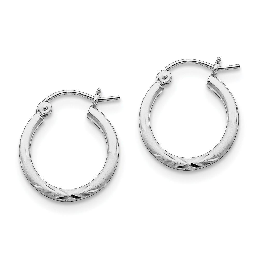 Sterling Silver Rhodium-Plated 2.00mm Satin D/C Tube 0.6IN Hoop Earrings (0.7IN x 0.6IN )