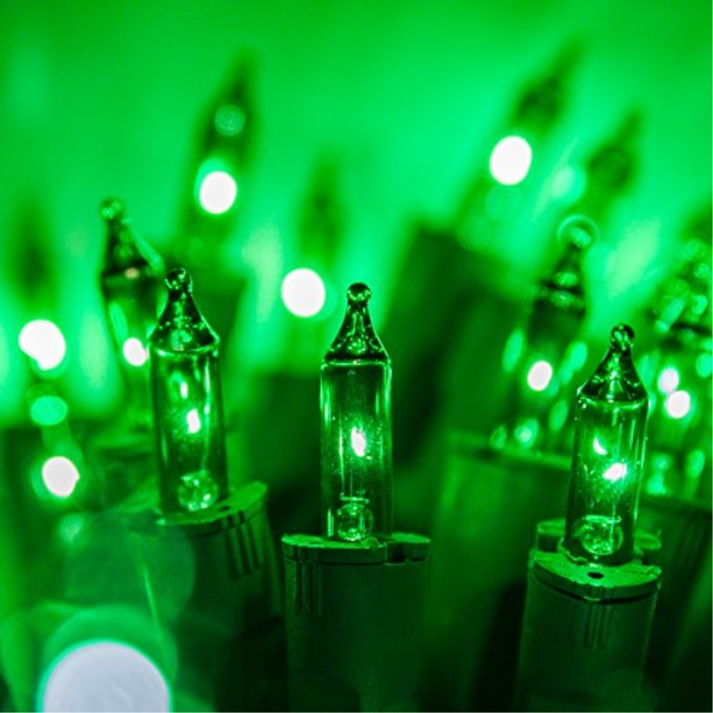 PureLock 50 ct Mini String Lights Multi-Color - 25' Green Wire Christmas Tree Lights by Kringle Traditions