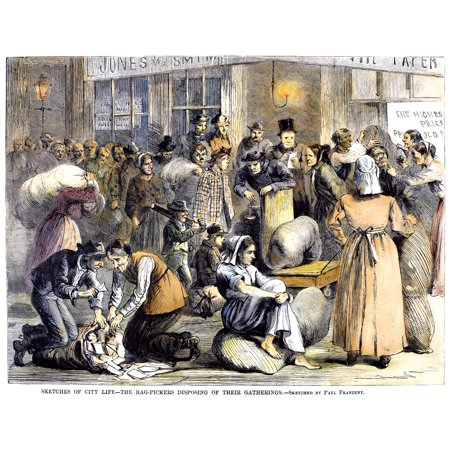 New York Poverty 1868 Nnew York City Rag Pickers Selling Their Gleanings To A Scrap Merchant Wood Engraving 1868 Rolled Canvas Art -  (24 x