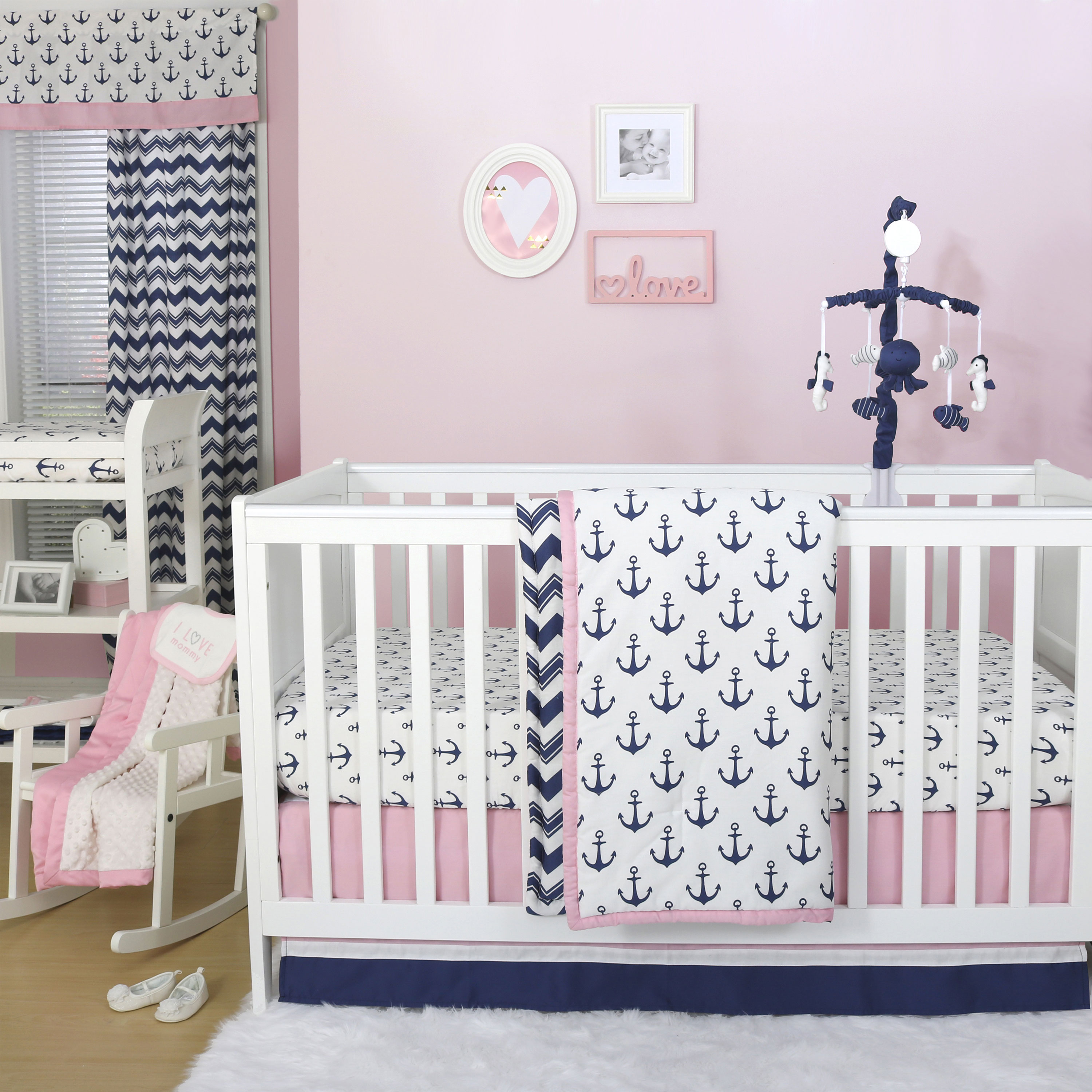 The Peanut Shell 3 Piece Baby Crib Bedding Set - Navy Blue and Pink Anchor Nautical Theme - 100% Cotton Quilt, Crib Skirt and Sheet