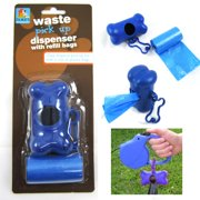 Bone Shape Pet Dog Cat Pickup Poop Bags Dispenser Refill Roll Waste Clean Up !