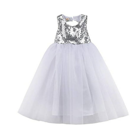 Little Girls Kids Sleeveless Sequin Princess Tutu Tulle Dress for Wedding Birthday Party