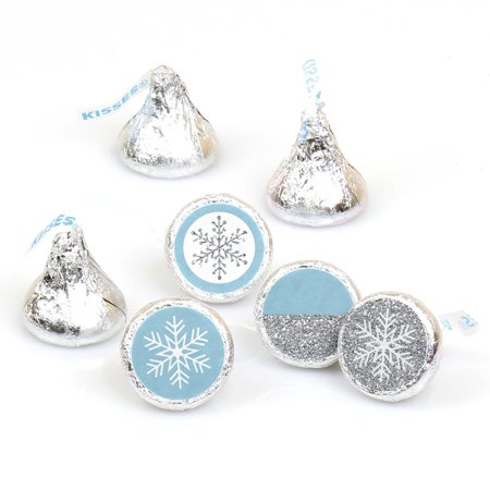 Winter Wonderland - Snowflake Holiday Party & Winter Wedding Round Candy Sticker Favors -Labels Fit Hershey's Kisses-108](Snowflake Candy)