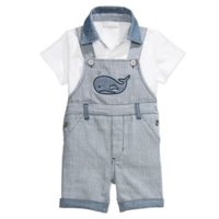 First Impressions Infant Boy 2 Piece T-Shirt Chambray Whale Shortall Overall 12m