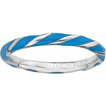 - Sterling Silver Twisted Blue Enameled Ring