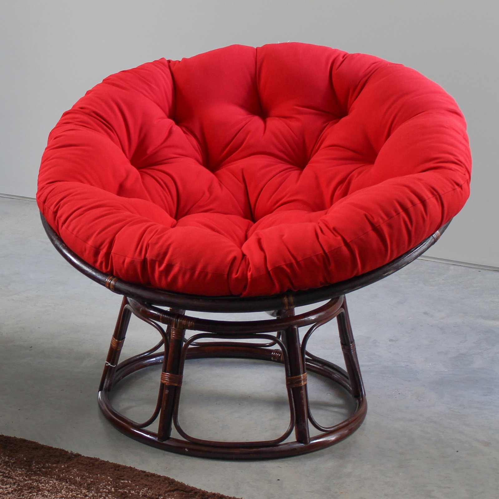 International Caravan 42 in. Papasan Chair with Solid Cushion