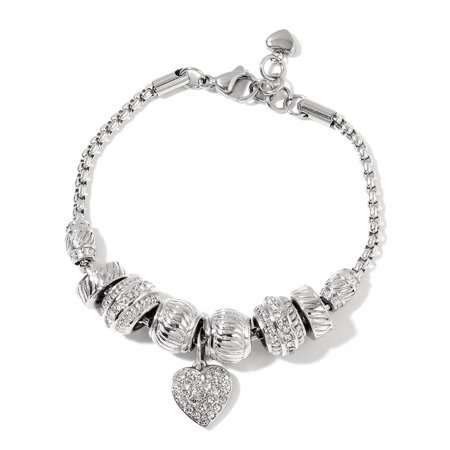 Pink Crystal Heart Charm Bracelet for Women Stainless Steel Adjustable Link 7.5""