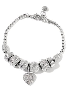 Product Image Stainless Steel Crystal Heart Charm Bracelet for Women  Adjustable Link 7.5