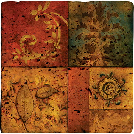 Thirstystone Ambiance Drink Coasters Set, Organic Montage I, Travertine