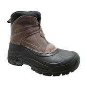 Mens Suede Winter Boots Zipper Brown