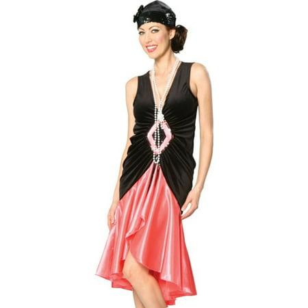 Cinema Secrets Coral Black 20s Flapper Dress Costume + Cloche Hat
