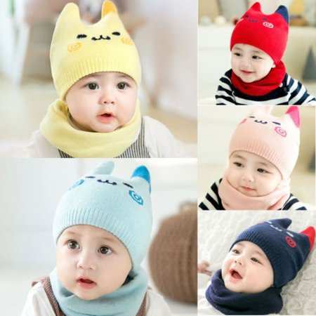 dfb53de12776 Emmababy - Cute Baby Boy Girl Winter Warm Knitted Cat Hat Newborn ...
