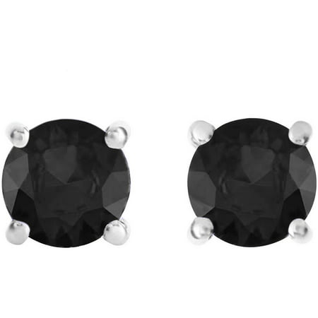 1/2 Carat T.W. Round Black Diamond Sterling Silver Stud Earrings ()