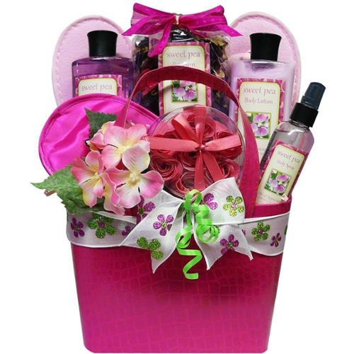 Art of Appreciation Gift Baskets Tickled Pink Sweet Pea Spa Bath and Body Gift Basket Set