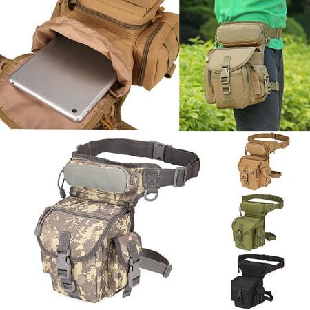 Tactical Military Leg Bag Men's Nylon Hip Drop Belt Waist Fanny Vintage Hip Pack Messenger Hiking Bag Waterproof - Multiple pockets with zipper