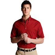 Ed Garments 1230 Men's Easy Care Short Sleeve Poplin Shirt - Brick - Large