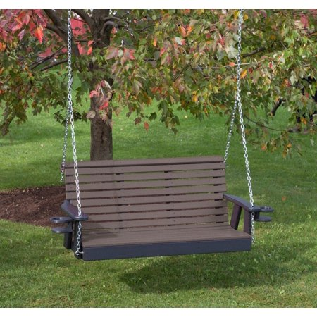 Outdoor Garden Exterior Weathered-Wood Finish 4Ft-Poly Lumber Roll Back Porch Swing With Cupholder Arms Everlasting Amish (Essex Swing Arm)
