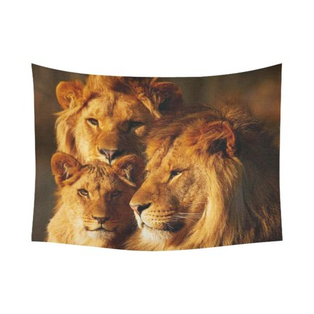 PHFZK Safari Home Decor African Art Wildlife Tapestry, Three Lions Close together in the Forest Sunset Tapestry Wall Hanging 60 X 80 Inches - Safari Home Decor