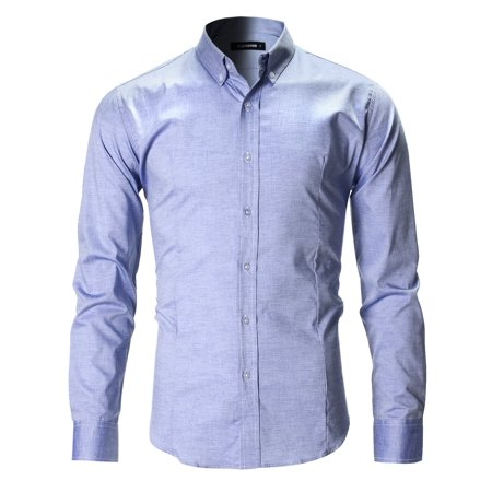 FLATSEVEN Men's Slim Fit Oxford Button Down Casual Shirt Long Sleeve -