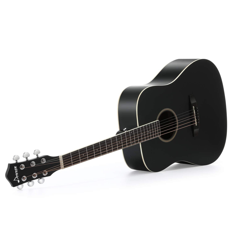 41 Dreadnought Guitar Bundle with Gig Bag Tuner Capo Picks Strap String Donner DAG-1B Black Beginner Acoustic Guitar Full Size
