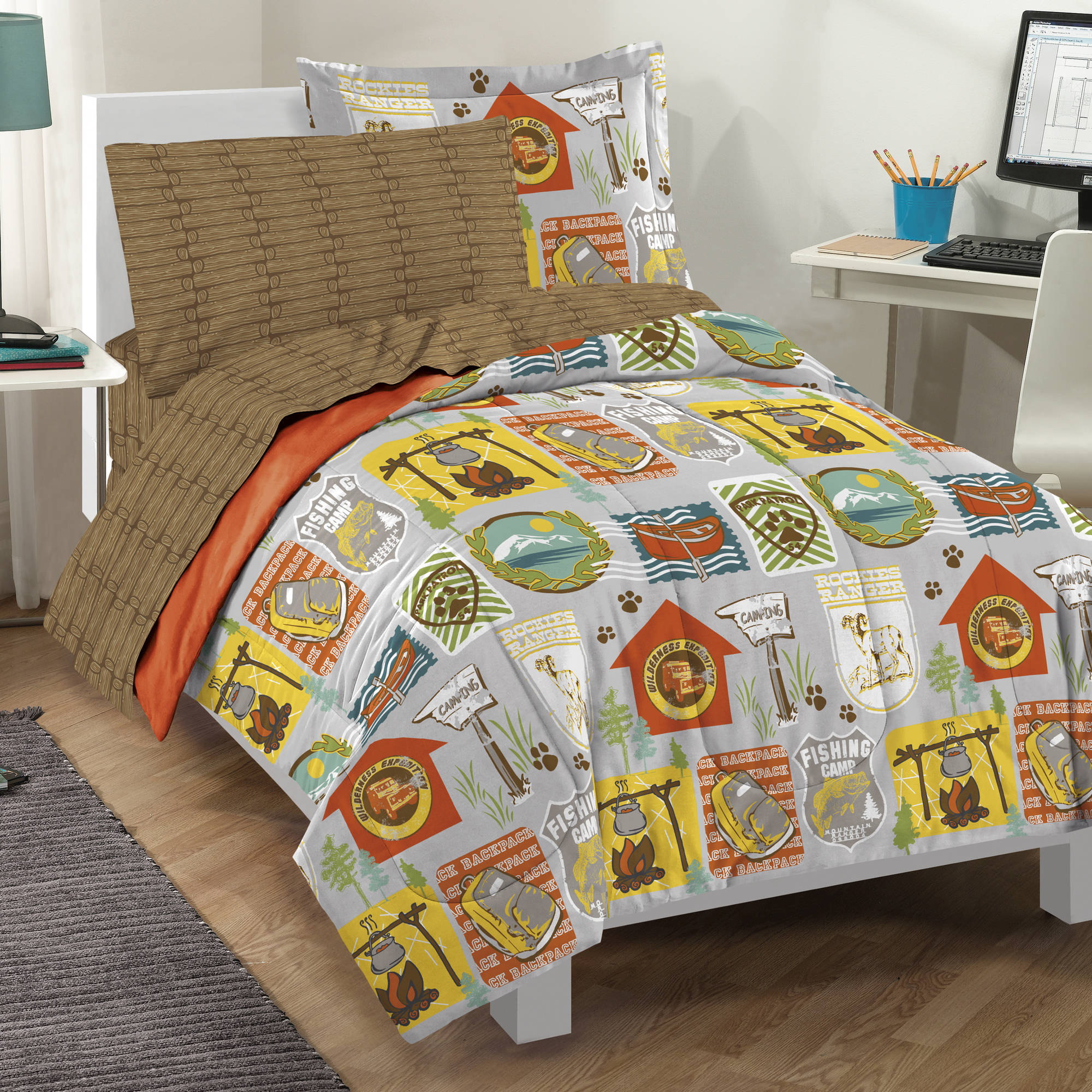 Dream Factory Campout Comforter, Sham and Sheet Set