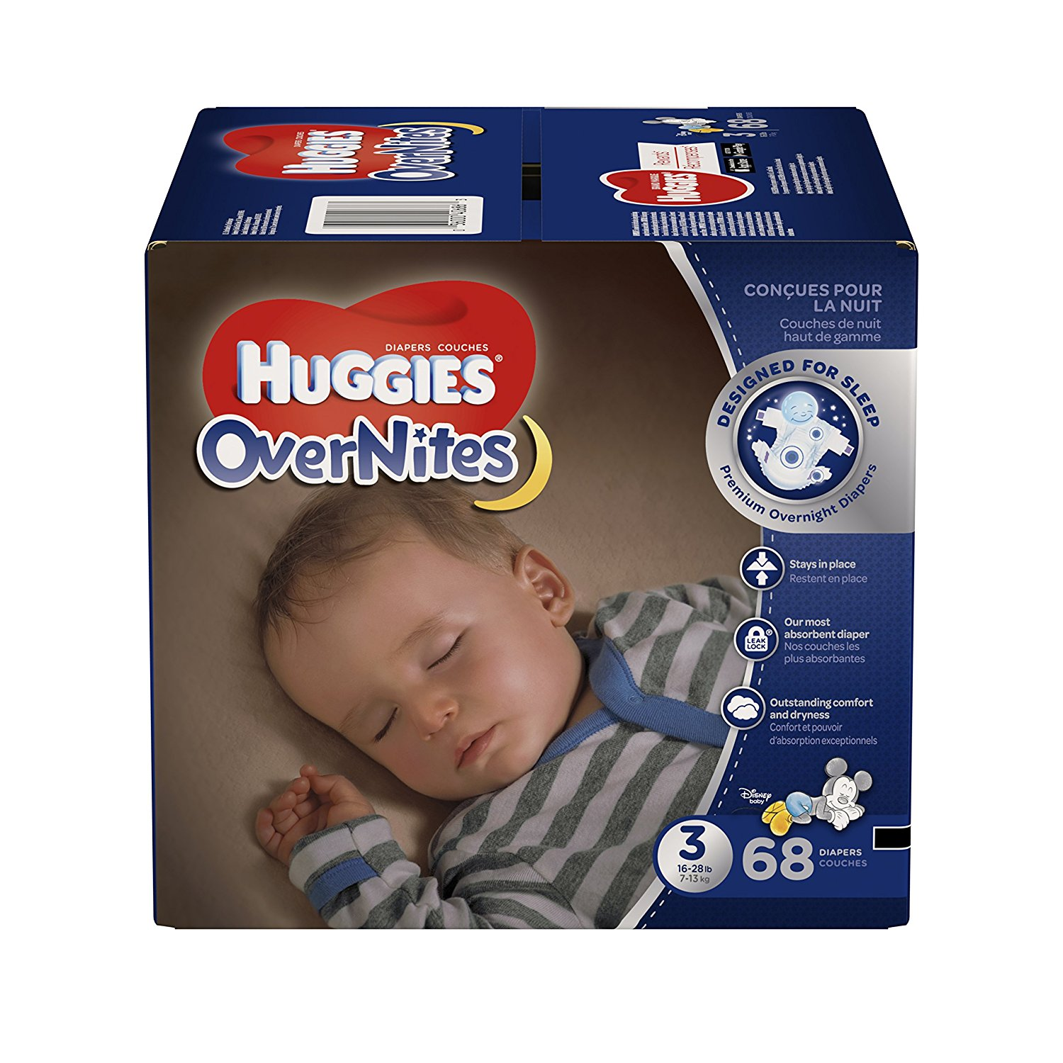 OverNites Diapers, Size 3, 68 ct., Overnight Diapers, Designed for sleep, and a sounder sleep for baby is guaranteed or your money back* By HUGGIES