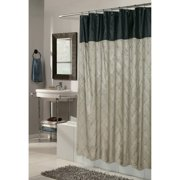 Carnation Home Fashions Diamond Patterned Embroidered Fabric Shower Curtain - Brown/Black