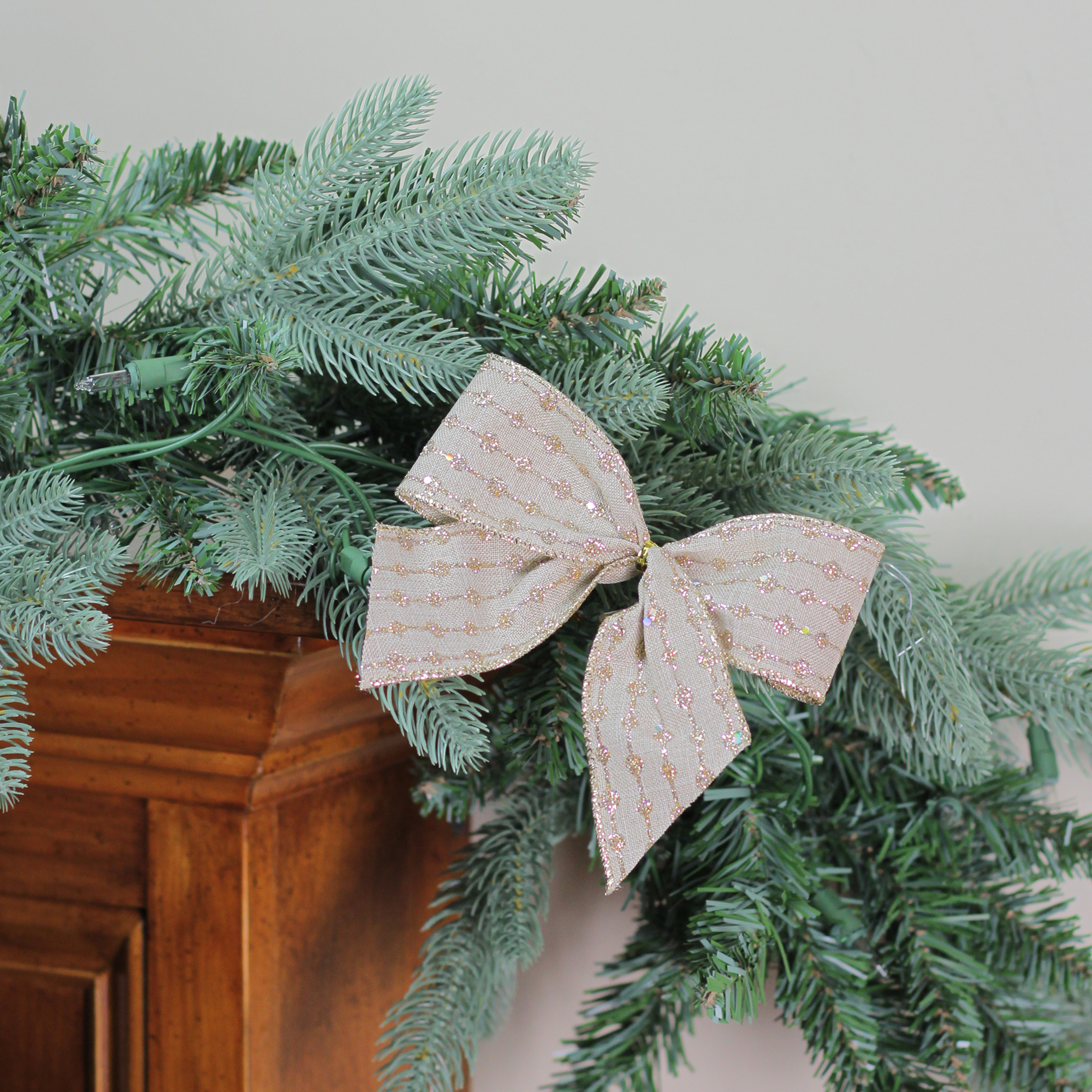 """Pack of 6 Burlap with Gold Glittered Stripes Mini Christmas Bow Decorations 5"""""""