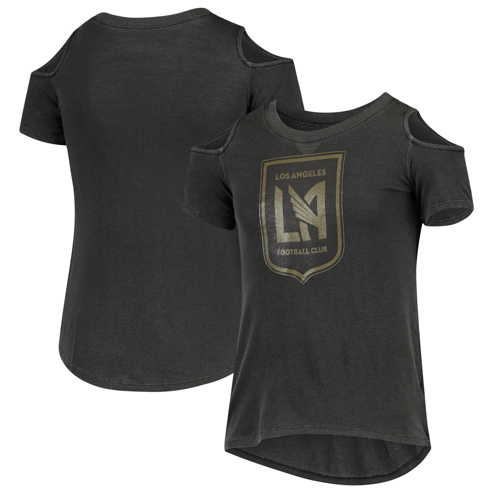 LAFC 5th & Ocean by New Era Girls Youth Cold Shoulder T-Shirt - Black