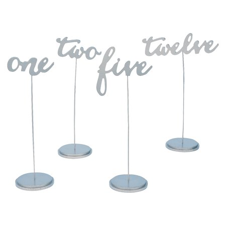 Fun Express - 1-12 Calligraphy Silver Table Numbers for Wedding - Party Supplies - Favors - Placecards And Holders - Wedding - 12 Pieces - Polar Express Party Supplies