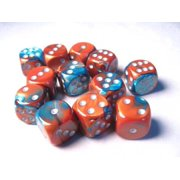 Chessex Dice d6 Sets: Gemini Copper & Teal with Silver - 16mm Six Sided Die (12) Block of Dice