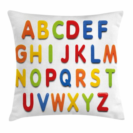 Letters Throw Pillow Cushion Cover, Multicolored Collection of Alphabet Letters Education Image Capital Symbols Writing, Decorative Square Accent Pillow Case, 16 X 16 Inches, Multicolor, by (Alphabet Pillow)