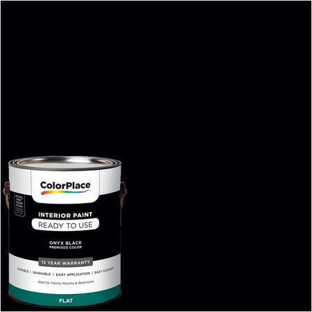 - ColorPlace Pre Mixed Ready To Use, Interior Paint, Onyx Black, Flat Finish, 1 Gallon