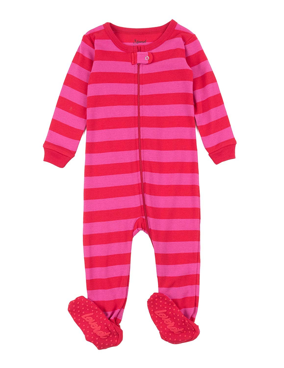 Leveret Kids Pajamas Baby Boys Girls Footed Pajamas Sleeper 100% Cotton (Red/Pink, Size 18-24 Months)